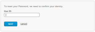 Image of the User Id Field of the reset your password screen.