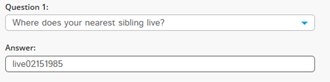 Screenshot of Question 3 - Where does your nearest sibling live. Answer is live02151985